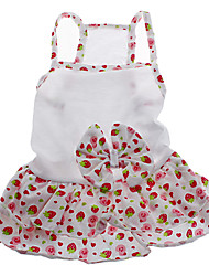 Dog Dress / Clothes/Clothing White Summer Fruit