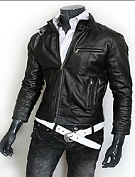 Men's Motorcycles Stand Collar Slim Leisure Leather Jacket