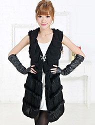 Fur Vest With Sleeveless Collarless Rabbit Fur Party/Casual Vest
