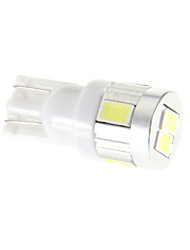 T10 6x5630SMD 6000K Cool White Light LED-Birnen für Auto (12V)