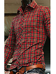 Men's Casual Shirt,Cotton Long Sleeve Red