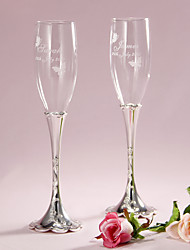 Pesonalized Floral Engraved Design Stem Toasting Flutes