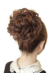 Rubber Band Tied Human Hair Light Brown Curly Hair Extensions