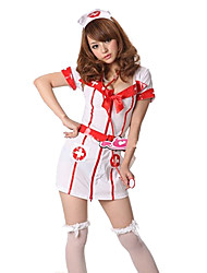Sweet Girl poliéster blanco Seductora Enfermera Uniforme