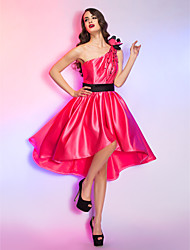 Cocktail Party / Homecoming / Holiday Dress - Watermelon Plus Sizes / Petite A-line One Shoulder Asymmetrical Satin