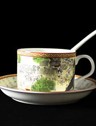 Riverside Scene at Qingming Festival Coffee Mug,Porcelain 5oz
