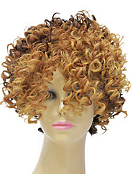 Capless Synthetic Short Mixed Color Small Curly Hair Wig Hairstyle