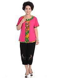 Mujeres Causal de estilo chino Traje (camiseta y pantalones)