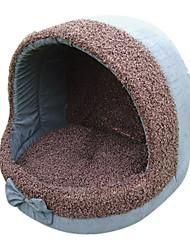 Bowknot Fleece High Roof House Style Warm Kennel Bett Haustiere Hund Katze