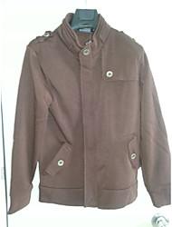 DJJM modèle de détonation britannique de voile de couleur pur casual contracté manteau (café)