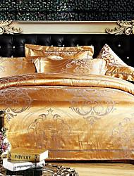 4 peças de ouro jacquard floral estilo moderno conjunto de capa de edredon