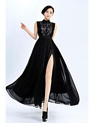 lapela lace top hem vestido de baile floral flanco slitted vestido maxi das mulheres