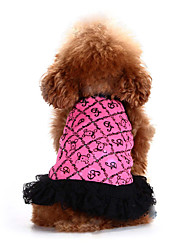 Lovely Doggies Pattern Dress with Lace for Pets Dogs (Assorted Colors, Sizes)