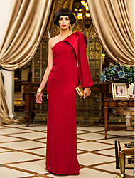 Formal Evening/Military Ball Dress - Ruby Sheath/Column One Shoulder Floor-length Chiffon