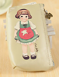 Cartoon Doll Pattern PU Leather Change Purse(Khaki,1 PCS)