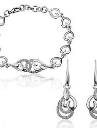 Обратный Сердце формы оловянного сплава с платиновым напылением Браслет и серьги
