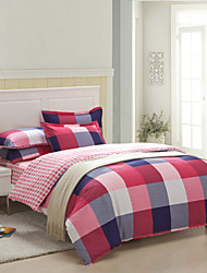 Duvet Cover Set,4-Piece 100%Cotton Reactive Printed Multicolor Checks