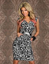Leopard V-cuello de las mujeres imprimió el vestido del partido Delgado