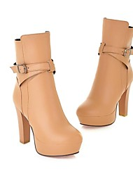 Women's Shoes Platform Chuncky heel Ankle Boots with Side Zipper and Buckle More Colors available
