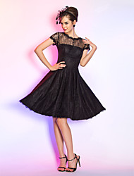 Cocktail Party / Homecoming / Prom Dress - Short Plus Size / Petite A-line Jewel Knee-length Lace with Buttons / Draping