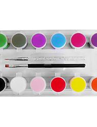 12-Color 3D Acrylic Nail Art Painting Pigment Kits with 2PCS Acrylic Pen Brush