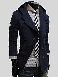 gezi Men's Fashion Double Breasted Slimming Hoodied Coat