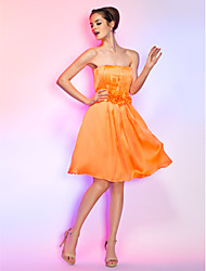 Homecoming Cocktail Party/Homecoming/Holiday Dress - Orange Plus Sizes A-line Strapless Knee-length Chiffon