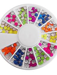 Смешанная цвета конфеты Люминесцентная Круглый украшениями ногтей
