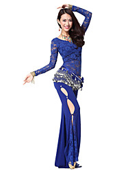 Dancewear Sexy Lace Rhinestone Belly Dance Outfits With Coin Belt (More Colors,Top & Pants)