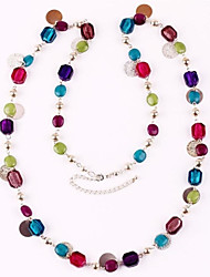 Fashion Multicolor Glass Beads Long Necklace