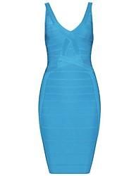 Venta caliente atractiva azul profundo-V sin mangas del vestido del vendaje