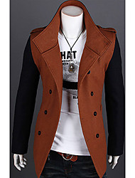 Men's Color Matching Double Breasts Trench Coat