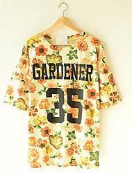 Vrouwen Causale Brief Bloem T-shirt