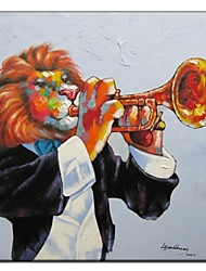 Hand Painted Oil Painting Animal Musician Lion