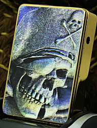 Personalized Father's Day Gift Skull Pattern Gold Engraved USB Electronic Lighter