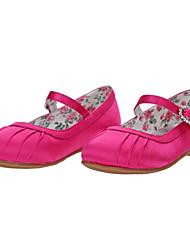 Salto liso Mary Jane Flats Sapatos de cetim menina (mais cores)