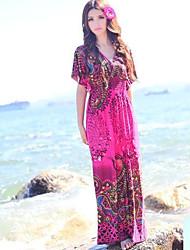 TS Bohemia Slim Short Sleeves Beach Maxi Dress(Random Prints)