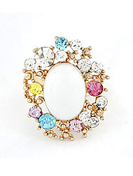 FENLU Colorful Alloy Original Design 3*2.2*1CM Rings