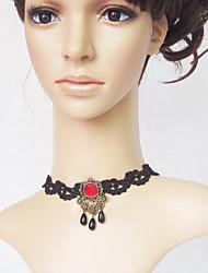 Handmade oscuro reina roja de la piedra preciosa Gothic Lolita collar con Encaje Negro