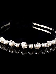 Women's / Flower Girl's Pearl / Rhinestone Headpiece-Wedding Headbands Silver Round