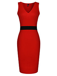 Women's Sexy OL Style Deep V-neck Sheath Dress
