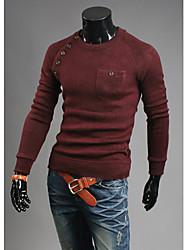 Herren T-shirt-Einfarbig Freizeit Baumwollmischung Lang-Rot / Beige / Grau / Sandfarben