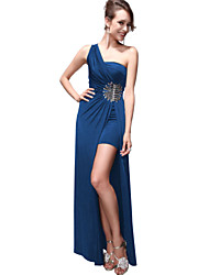 EP Graceful One Shoulder Jag Floor-Length Dress(Blue)