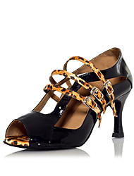 PU & Satin Multi-Buckle creux sur Color Block danse latine Sandales pour dames