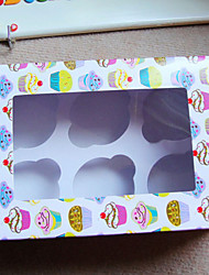 Cupcake Pattern Cake Favor Boxes with 6 Check Cupcake Holder
