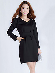Ailuoer Ol Slim Thin Long-Sleeved Ladies Bottoming Dress (Black)