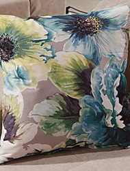 Retro Oriental Pintura Tinta Estilo Verde Flores Pillow Decorativo Com Insert