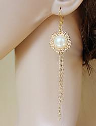Ручной Элегантный белый жемчуг Классическая Лолита серьги с Лонг-Alloy кисточкой