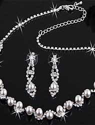 Silver Plated Bridal Pearl Crystal Earrings Necklace