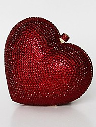 Lovely Red Crystal Heart Clutch Wedding Box